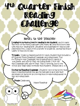 4th Quarter Finish Reading Challenge