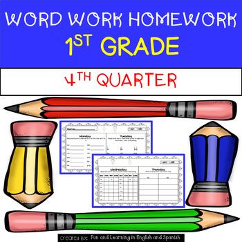 4th Quarter - Word Work Homework - 1st Grade