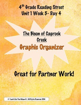 """4th Reading Street- Unit 1 Week 5 Graphic Organizer for """"Bison of Caprock Creek"""""""