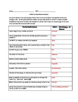 4th STAAR Vocabulary ELA words cut & paste