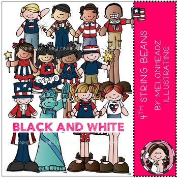 Melonheadz: July 4th clip art - String Beans - BLACK AND WHITE