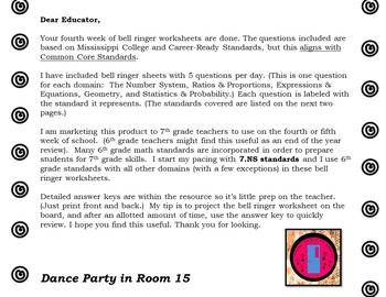 4th Week of School: 7th Grade Math Bell Ringer Worksheets