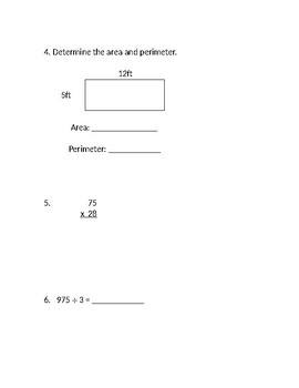 4th & 5th Grade Beginning of the Year Math Pre-Assessment w/Answer Key{Editable}