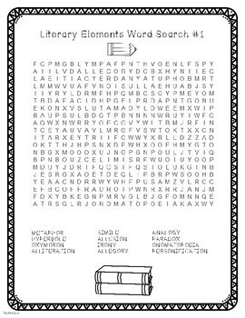4th and 5th Grade Common Core Differentiated Literary Elements Wordsearches