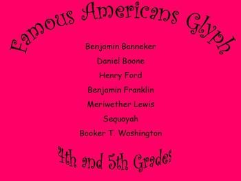 4th and 5th Grade Glyph on Famous Americans Using Informational Text