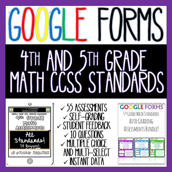 4th and 5th Grade Math Assessments ALL STANDARDS BUNDLE Google Forms