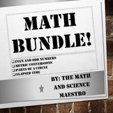 5th Grade Math BUNDLE! Even/Odd, Metric Conversion, Elapse