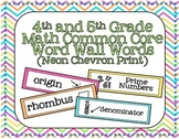 4th and 5th Grade Math Common Core Word Wall Words- Neon C