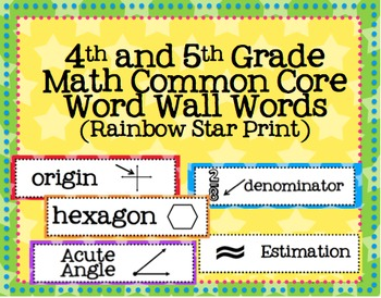 4th and 5th Grade Math Common Core Word Wall Words- Rainbow Star Print