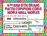 4th and 5th Grade Math Common Core Word Wall Words- Tutti