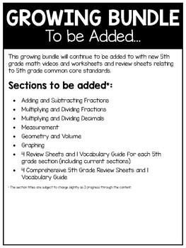 4th and 5th Grade Math Video and Worksheet GROWING BUNDLE