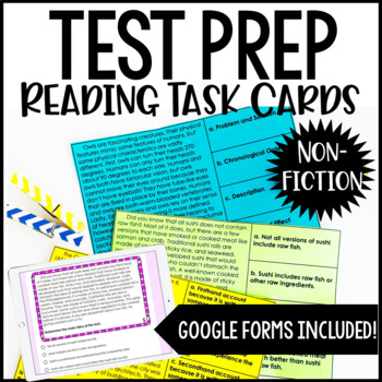 4th and 5th Grade Reading Test Prep Task Cards | Nonfiction Reading Review