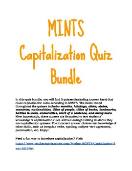 MINTS Capitalization Quiz Bundle