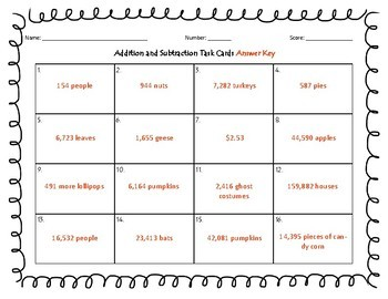 4th grade Addition and Subtraction Task Cards