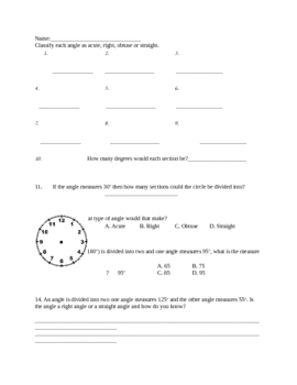 4th grade Angles Test