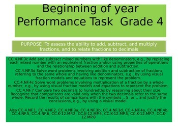 4th grade  Beginning of Year New Performance Task 2015 version