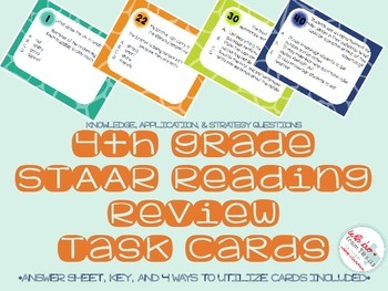 4th grade *COMPREHENSIVE* STAAR Reading Task Cards