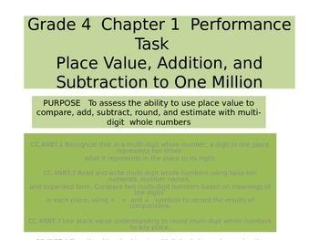 4th grade Chapter 1 Math Performance task