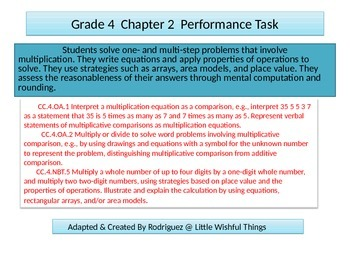 4th grade  Chapter 2  Math Performance task