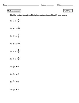 4th grade - COMMON CORE Math 4.NF.4 Fraction Multiplication Assessment Test