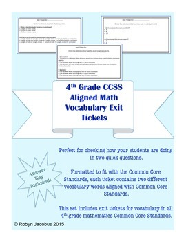 4th Grade Math-CCSS Aligned Vocabulary Exit Tickets w/answer key