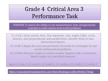 "4th grade Critical Area 3 Math Performance Task "" Community Playground"""