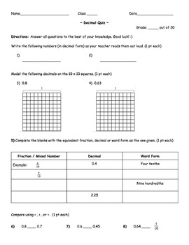 4th grade-Decimals Quiz