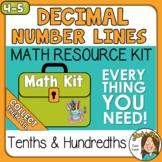 4th grade Decimals on a Number Line - tenths & hundredths