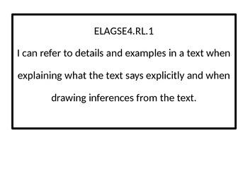 4th grade ELA I Can statements.