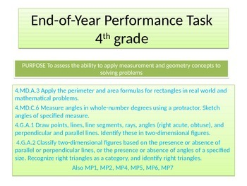 4th grade End of Year New Performance task 2015 version