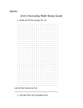 4th grade Everyday Math 4 (newest version) Unit 2 Study Guide