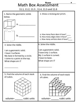4th grade Everyday Math Unit 11 math box assessment