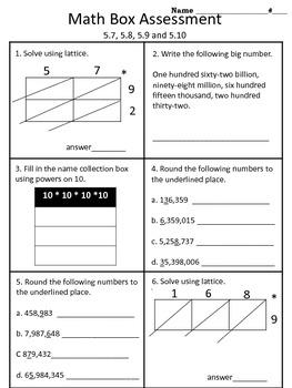 4th grade Everyday Math Unit 5 math box assessment