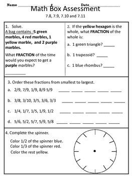 4th grade Everyday Math Unit 7 math box assessment