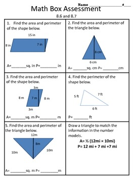 4th grade Everyday Math Unit 8 math box assessment
