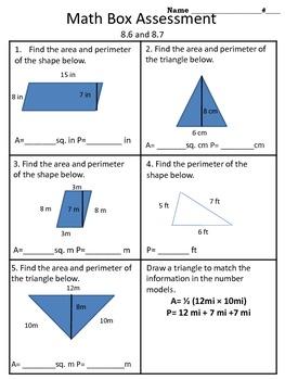 4th grade Everyday Math Unit 8 math box assessment