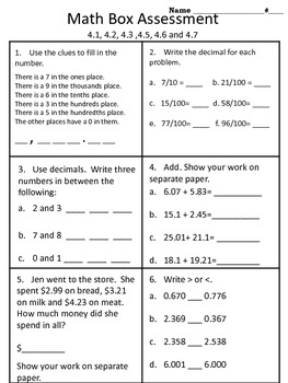 4th grade Everyday Math Units 1-4 math box assessment