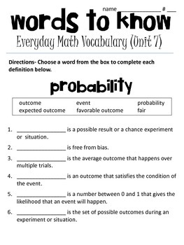 4th grade Everyday Math Vocabulary (unit 7- fractions and probability)
