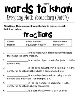 4th grade Everyday Math Vocabulary (unit 7- fractions and