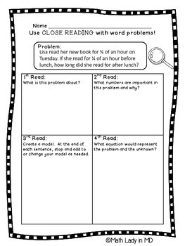 4th grade Fractions Word Problems - Close Reading!