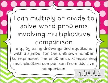 4th grade Full Size Common Core Standards Posters {lime green and pink patterns}