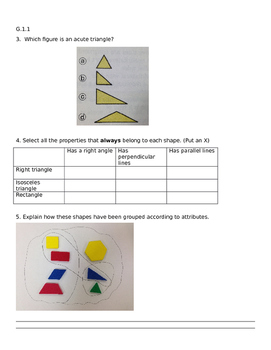 4th grade G.1.1 assessment Geometry