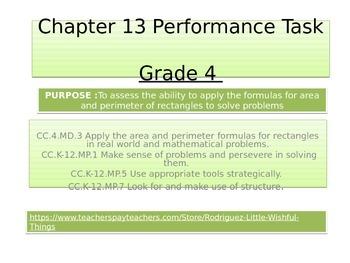 4th grade  Chapter 13 Math Performance Task
