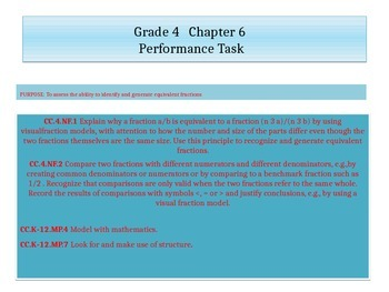 4th grade  Chapter 6  Math Performance Task