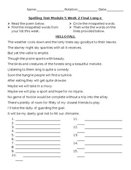 4th grade HMH Into Reading Spelling Tests- Mod 5 Wk2