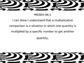 4th grade I Can statements for G.S.E. Zebra