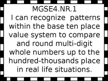 4th grade I can statements for G.S.E. black-line border