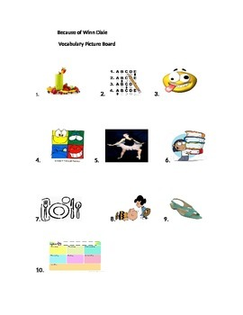 4th grade Journeys Lesson 1 Because of Winn Dixie Vocabulary Picture Board