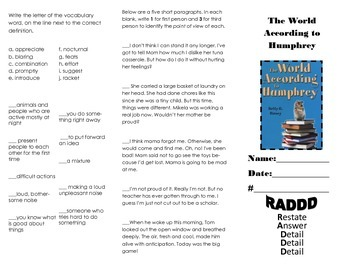 4th grade Journeys Lesson 21 the World According to Humphrey trifold