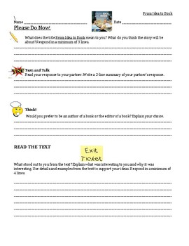 4th grade Journeys Please Do Now From Idea To Book